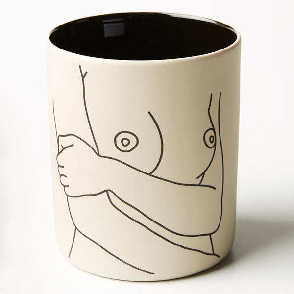 Life drawing / hand painted nude woman / boob vase planter pot