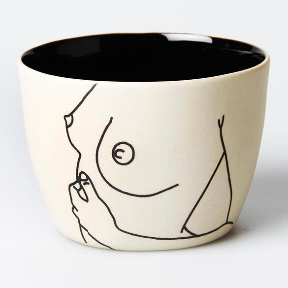 Life drawing / hand painted nude woman cup / boob mini planter pot