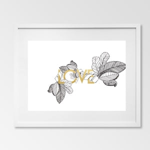Gold foil LOVE watercolour print