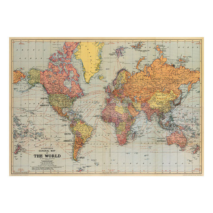Stanfords world map vintage chart poster print six things stans vintage world map poster hanging print six things 2 gumiabroncs Image collections