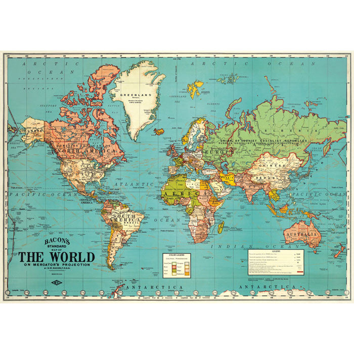 Bacons The World Map Vintage Chart Poster Print Six Things - Green and blue world map