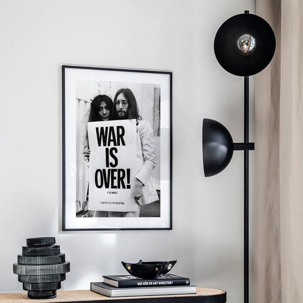 John Lennon / Yoko Ono war is over monochrome canvas print