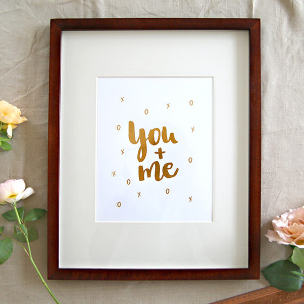 You & me gold foil letterpress print - Six Things