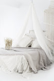 Serenity Throw Windchime Grey - Throws - losari - bohemian fashion - white - soft - beautiful