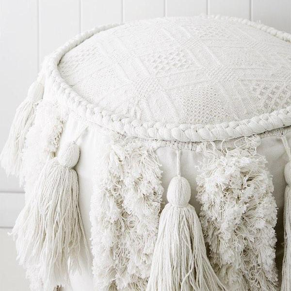 Shanti Pouf Cover - Cushions - losari - bohemian fashion - white - soft - beautiful