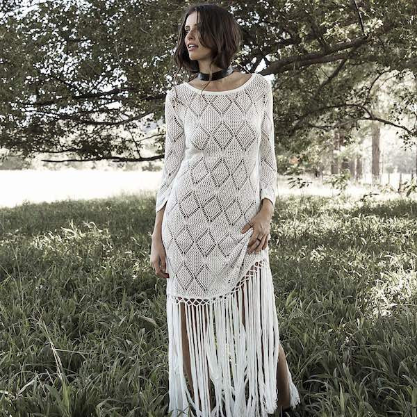She Roars Knit Dress - white - My Wild Heart Collection - bohemian fashion - Losari