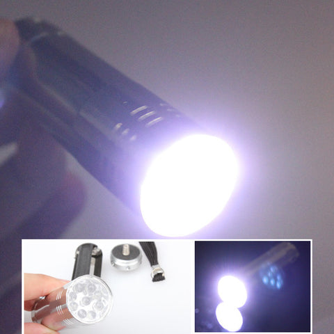 New Silver Mini Flashlight 9 LED