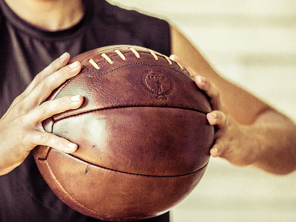 MVP Heritage Brown Leather Handmade Medicine Ball 12LB