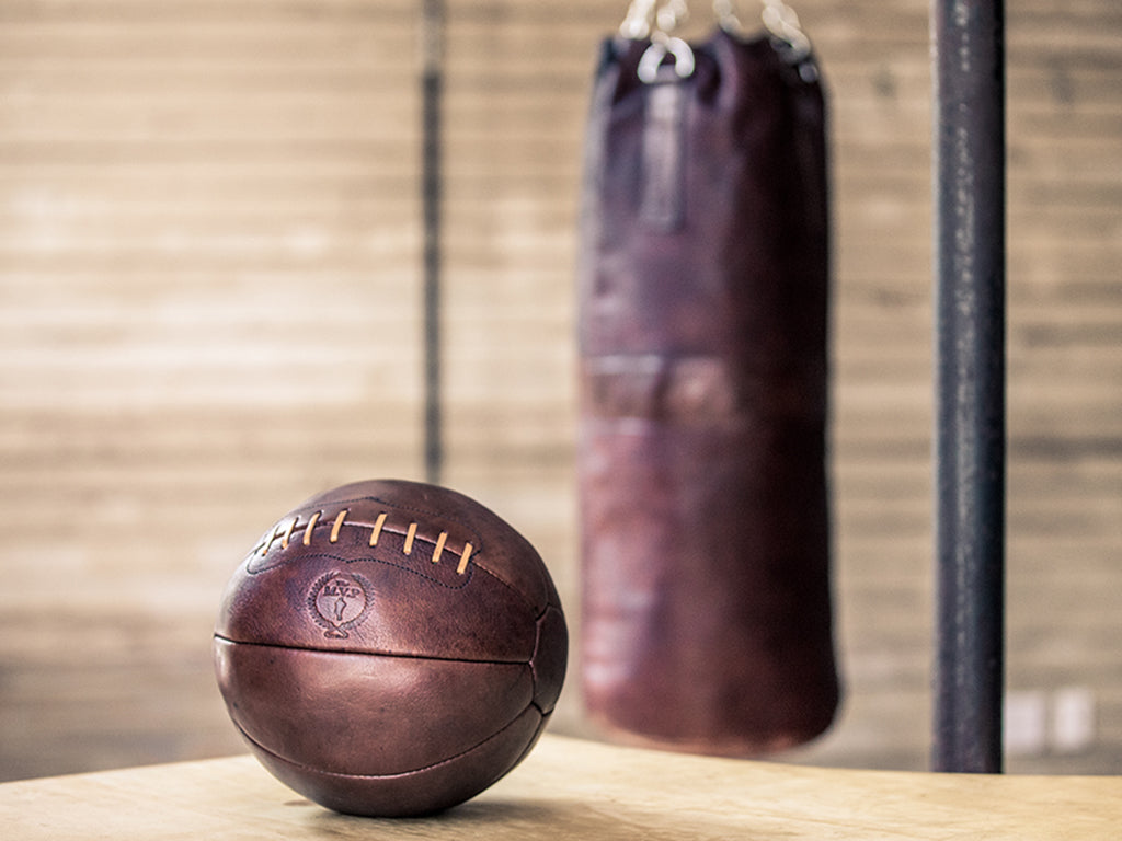 Retro Heritage Leather Medicine Gym Ball