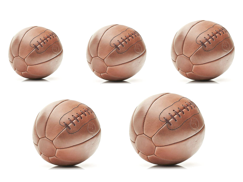 Deluxe Tan Leather Medicine Ball Set