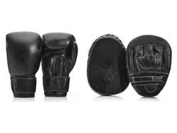 PRO Executive Black Leather Boxing Glove / Pad Set