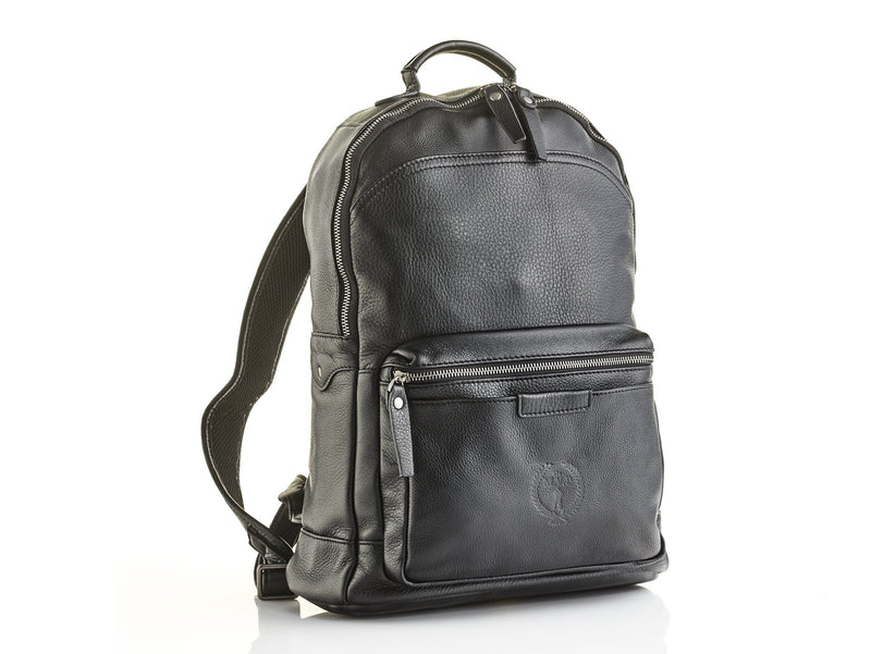 Executive Black Leather Backpack