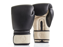 PRO Black / Cream Leather Boxing Gloves (Strap Up)