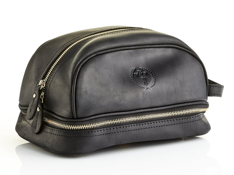 Executive Black Leather Dopp Bag