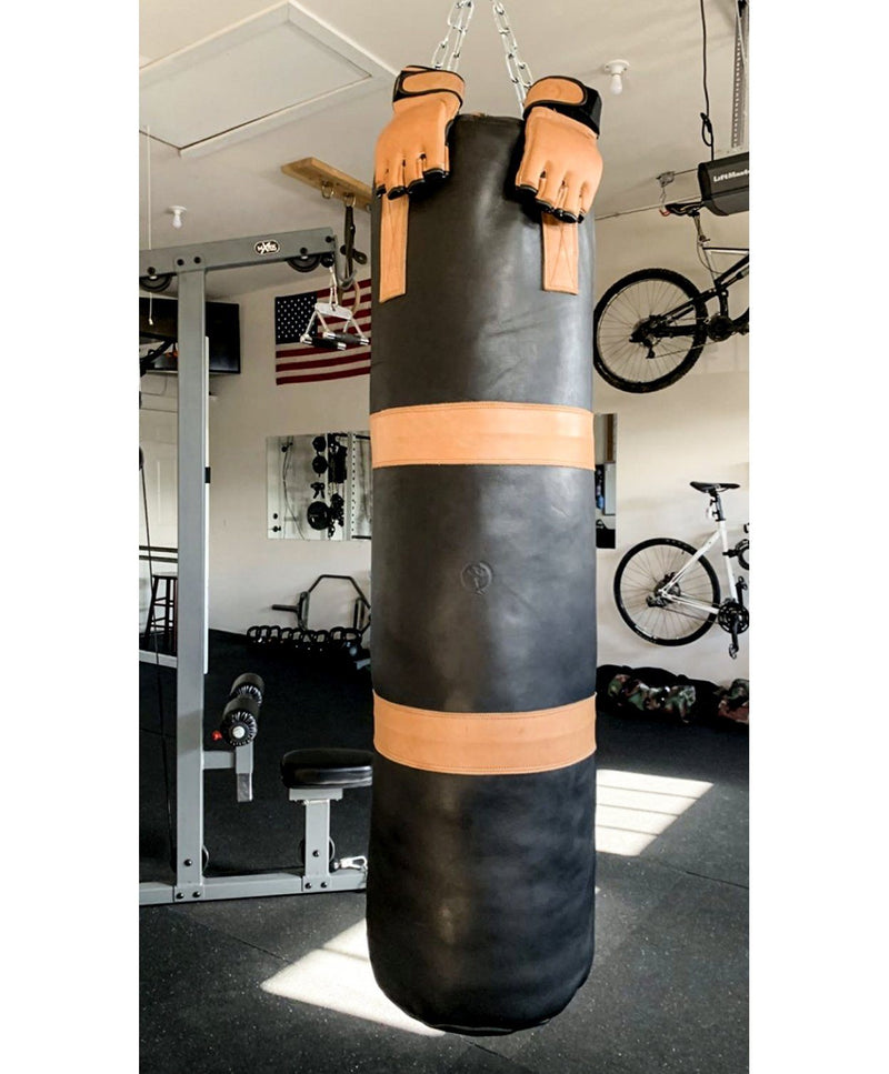 RETRO Executive Black Leather Heavy Punching Bag, Tan Trim (un-filled)
