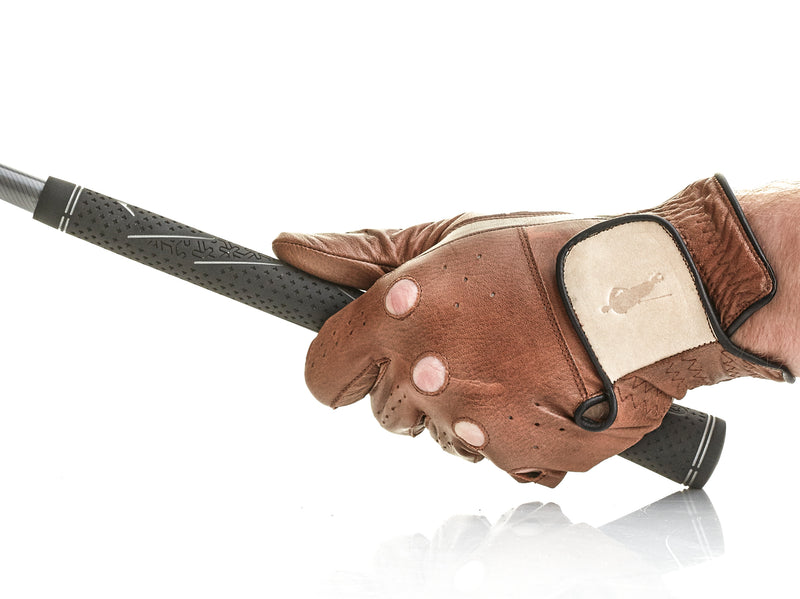 PRO Brown / Cream Leather Golf Gloves (3 Pack)