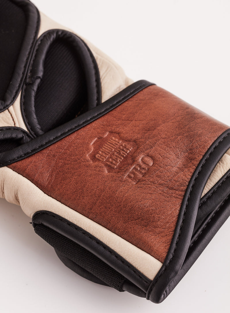 PRO Cream / Brown Leather MMA Gloves