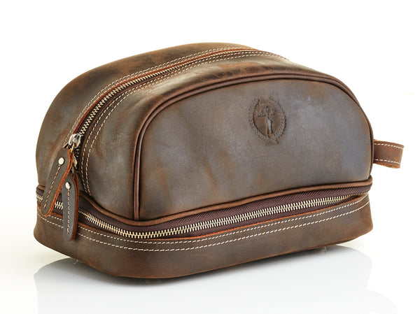 Heritage Brown Leather Dopp Bag