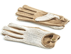 Crochet Knit / Tan Leather Driving Gloves