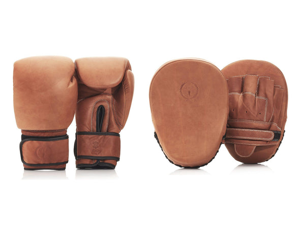 PRO Deluxe Tan Leather Boxing Glove / Pad Set