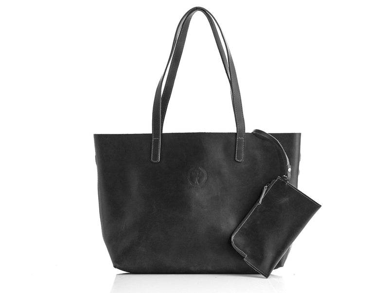 Ladies Executive Black Leather Tote Bag