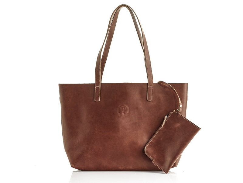 Ladies Deluxe Tan Leather Tote Bag