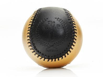 MVP Baseball - Black / Gold Leather Baseball, Black Stitch