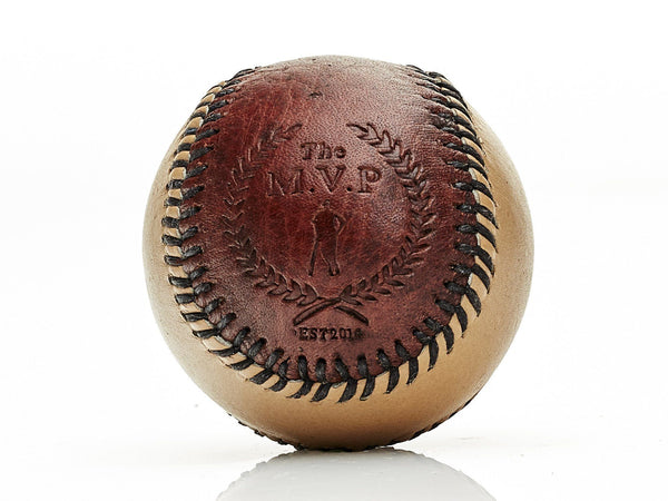 MVP Baseball - Brown / Cream Leather Baseball, Black Stitch