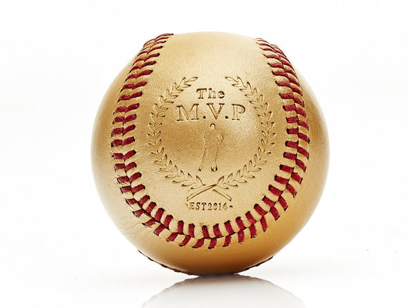 MVP Baseball - Gold Leather Baseball, Red Stitch
