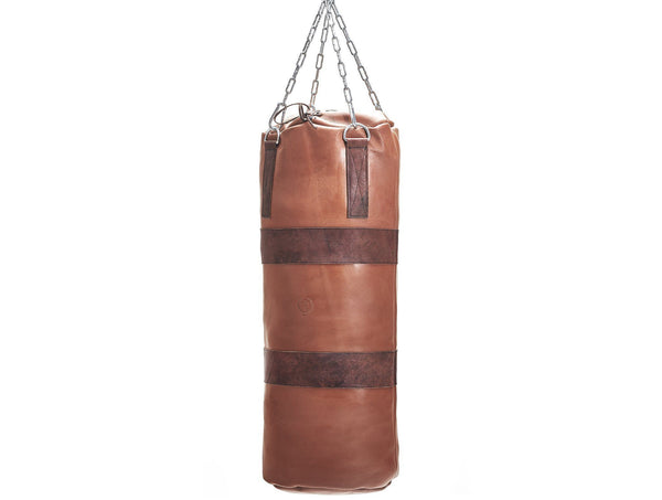 MVP Boxing - Deluxe Leather Heavy Punching Bag, Brown Trim (un-filled)