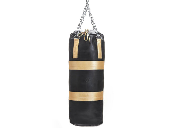 MVP Boxing - Executive Leather Heavy Punching Bag, Gold Trim (un-filled)