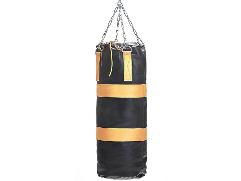 MVP Boxing - Executive Leather Heavy Punching Bag, Yellow Trim (un-filled)