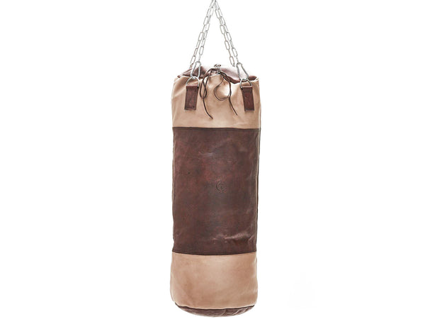 RETRO Cream / Brown Leather Heavy Punching Bag (un-filled)