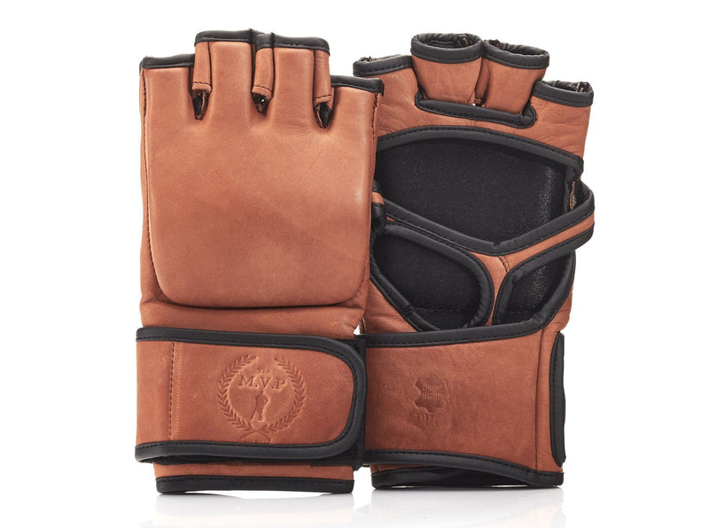 MVP Boxing - PRO Deluxe Tan Leather MMA Gloves