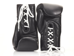 MVP Boxing - PRO Executive Black Leather Boxing Gloves (Lace Up)