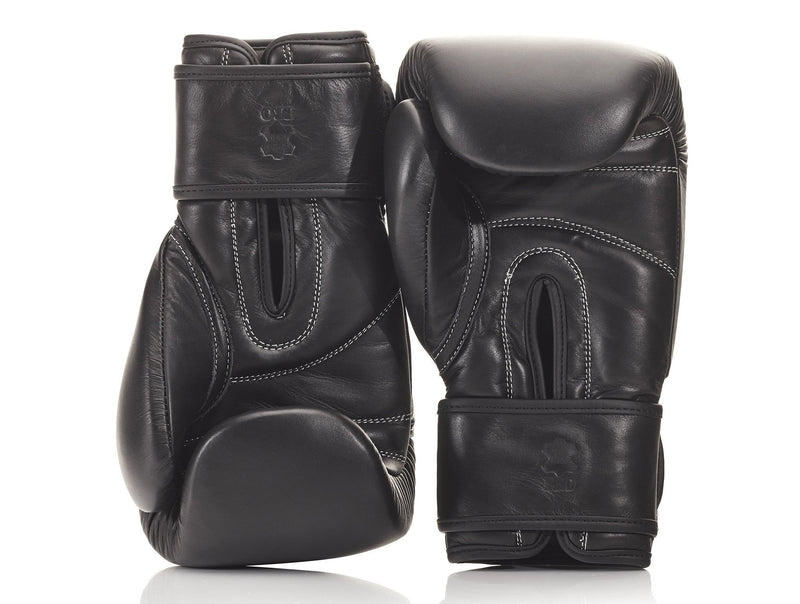 MVP Boxing - PRO Executive Black Leather Boxing Gloves (Strap Up)