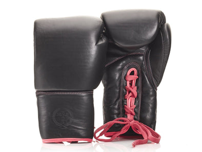 MVP Boxing - PRO Ladies Executive Black Leather Boxing Gloves (Lace Up)