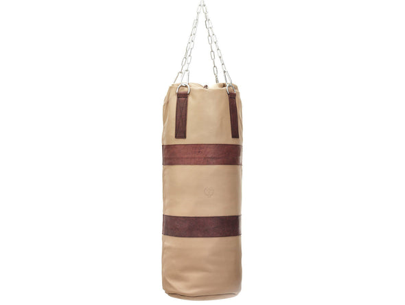MVP Boxing - RETRO Cream Leather Heavy Punching Bag, Brown Trim (un-filled)