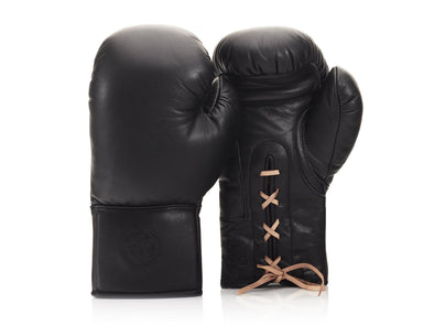 MVP Boxing - RETRO Executive Black Leather Boxing Gloves (Lace Up)