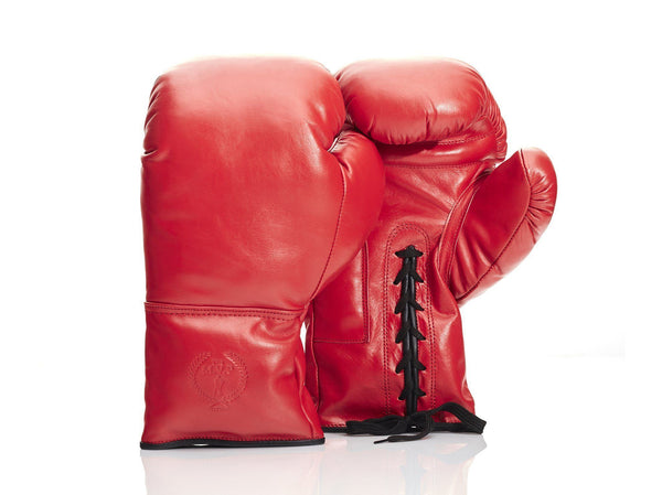 MVP Boxing - RETRO Red Leather Boxing Gloves (Lace Up)
