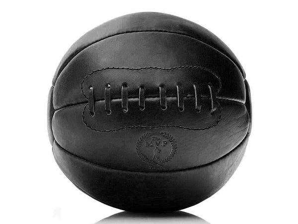 RETRO Executive Black Leather Medicine Ball