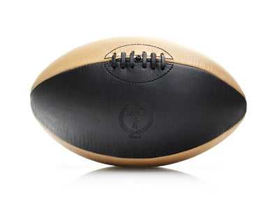 MVP Leather Balls - Black / Cream Leather Rugby Ball