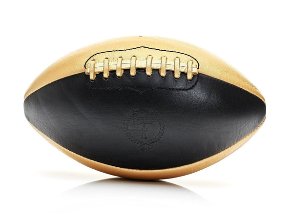 MVP Leather Balls - Black / Gold Leather Football, Gold Lace