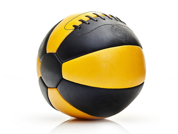 Designer Black & Yellow Leather Medicine Workout Ball