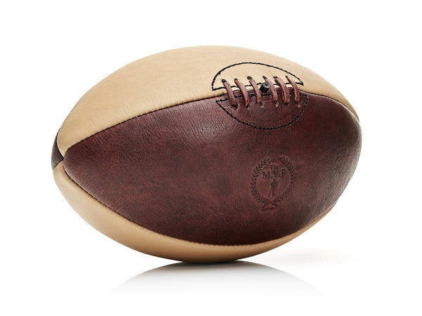 MVP Leather Balls - Brown / Cream Leather Rugby Ball