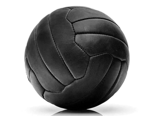 RETRO Executive Black Leather 18P Soccer Ball