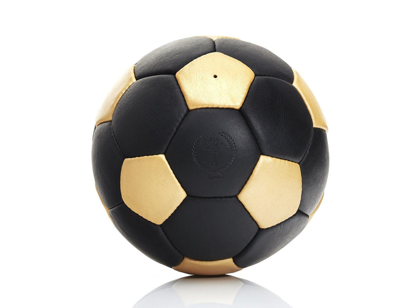 MVP Leather Balls - RETRO Black / Gold Leather 32P Soccer Ball