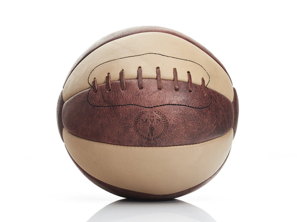 MVP Leather Balls - RETRO Cream / Brown Leather Medicine Ball