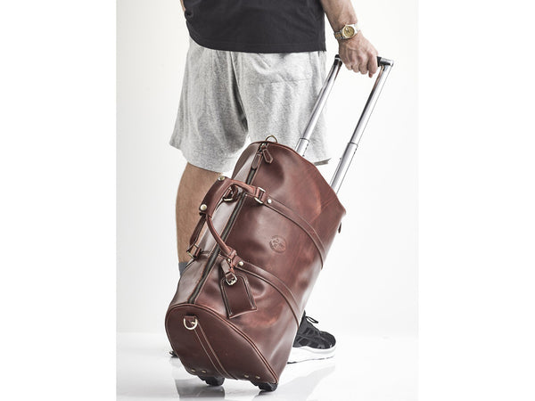 Heritage Brown Leather Trolley Duffel Bag