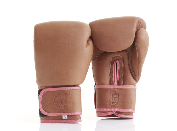 PRO Ladies Deluxe Tan Leather Boxing Gloves (Strap Up)